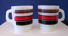 Lot of 2 Vintage Red Stripe Fire-King Anchor Hocking Coffee Mugs