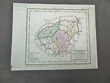 CARTE DU DEPARTEMENT DE LA CORREZE divié en 4 districts. XIXème.