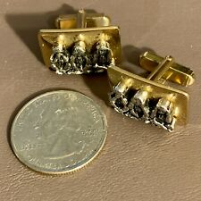 VINTAGE ANSON 3 NO EVIL MONKEYS MEN'S CUFF LINKS GOLD & SILVER TONE
