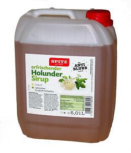 SPITZ erfrischender Holunder Sirup 5l Liter Kanister Einweg Sirup 1 + 6 =7