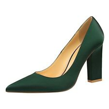 High Heeled Pointed-toe Women's Ladies Chunky Heel Satin Pumps Court Shoes Sexy