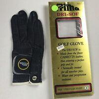 Prima Golf Glove Mens Right Small Leather Dri-Sof Black All Weather Play NEW