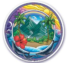 * EARTH ISLAND 2-Sided Window Sticker Decal Wiccan Pagan S55
