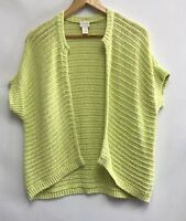 Chicos Womens Size 1 Medium Sweater Green Open Front Knit