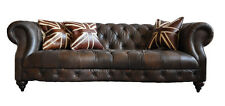 Castlefield Sofa 3 Sitzer Chesterfield Dark Vintage Leder Möbel Stil Couch