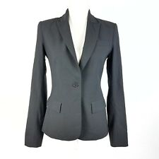 Theory Gabe B Blazer Fitted One Button Wool Stretch Black Size 4 Small