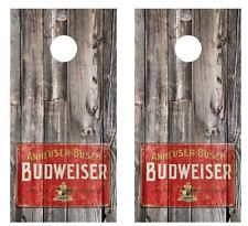 Vintage 1940's Budweiser Logo Sign Barnwood Cornhole Board Wraps #2554