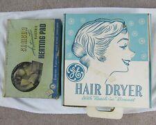 Lot of 2 Vintage 1960s GE Blue Bonnet Hair Dryer & Samson Electric Heating Pad