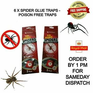 6 X SPIDER GLUE TRAPS - 2 PACKS OF 3 EACH - NO MORE SPIDERS - INSECTICIDE FREE