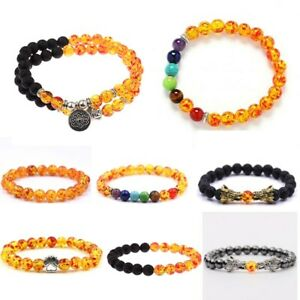Fashion Tiger Eye Zircon Crown Beaded Bracelet Women Men Elasticity Bangle Gift