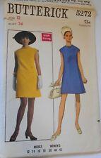 Vintage Butterick Sewing Pattern #5272 Misses Size 12 MOD Retro 1960's Dress