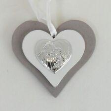 Bomboniera Icona cuore in legno con Sacra Famiglia battesimo nascita