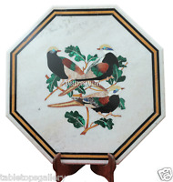 """18"""" White Marble Coffee Center Table Top Bird Inlay Marquetry Kitchen Work H2193"""