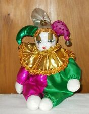 Mardi Gras Jester Doll Dr 00006000 essed in colorful Mardi Gras Colors, Porcelain Face
