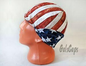 #28 Patriotic Cap American Flag Reversible Welding Welders Bikers Caps Weld Cap