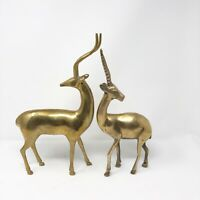 """Pair Of Vintage Brass Gazelle Figurines Statues 12""""Tall"""