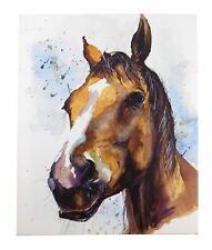 LARGE PRESENT COPPER HORSE SARAH STOKES WHITE CANVAS WOOD PICTURE 40 X 50CM