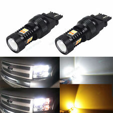 4Pcs Switchback White/Amber Front Parking Signal Light Bulbs For 07-13 Silverado