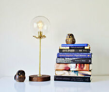 Globe Table Lamp, Industrial Brass and Wood Desk Lamp, Round Clear Glass Orb Sha