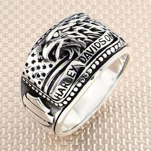 Mens Harley Davidson Biker Ring 925 Sterling Silver Handmade Men Jewelry