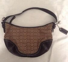 Coach 6351 Mini/Small Brown Hobo Jacquard Signature Canvas Leather Handbag Purse