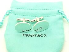 Cuff Links No Monogram w/ Pouch Tiffany & Co. Sterling Silver Classic Oval