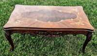 1910s Antique French Walnut Satinwood floral french style inlay Coffee table