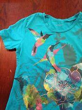 Lauren Scott Hummingbird Art Graphic Design S/S Shirt Sz. S Blue Style Cute