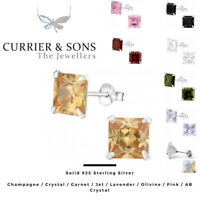 925 Sterling Silver Square Cubic Zirconia Stud Earrings (8mm)