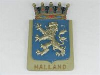 Vintage Swedish Halland Province Cast Metal Plaque Provincial Coat of Arms