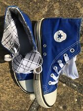 Converse Kids UK size 2 Blue Hi-Tops Lace Up Trainers Retro All Star