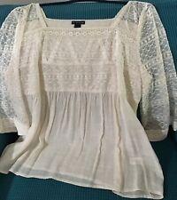 Ivory Lace 3/4 Sleeve Shirt Blouse Square Neckline Size PXL