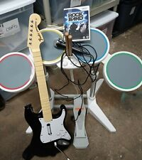 Nintendo Wii Rock Band Harmonix  Guitar, Drums Pedal & Mic Tested, Works Great