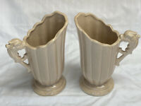"Vintage Shawnee  Pottery Pitcher Vase dragon handle 8"" #828 USA BEiGE X 2"