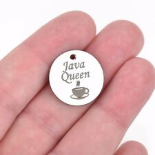 5 JAVA QUEEN Charms, Silver Stainless Steel Quote, Coffee Lover Drinker cls0061a