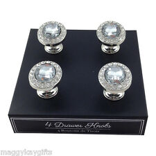 Set of 4 Oval Shaped Glass Drawer Knobs - wardrobes cupboards cabinets handle