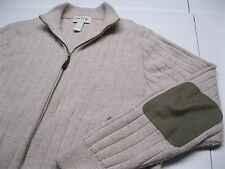 Orvis Full Zip All Wool Tan Fisherman's Cardigan w Elbow Patches size L