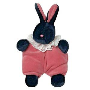 """Vtg 1990 Mary Meyer Puffy Black Bunny Rabbit Plush Stuffed Animal Pink Body 8"""""""