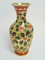 9 Inch Colorful Raised Wire Cloisonne Vase - Christmas Holiday Holly Design