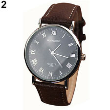 Men's Roman Numerals Faux Leather Band Quartz Analog Business Wrist Watch Handy