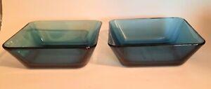 2 Blue Glass Anchor Hocking Square Bowls Rio Coastal