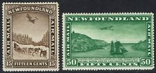 NEWFOUNDLAND 1931 AIRMAIL 15C AND 30C NO WMK
