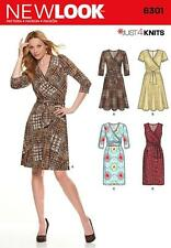 NEW LOOK SEWING PATTERN MISSES' MOCK WRAP JUST 4 KNIT DRESS SIZE  8 - 20 6301