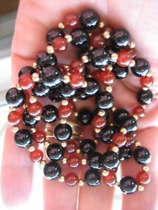 Fine Vintage 8mm Onyx and 6mm Carnelian Bead Necklace 14k Gold Spacers