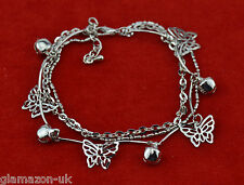 Bracelet Triple Row Chain New Uk Beautiful Butterfly and Bell Anklet Cute Charm