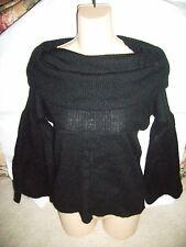 KRIZIA Maglia~ Bell Sleeve Wool / Mohair Off shoulder Sweater~ Black~ 42 EU