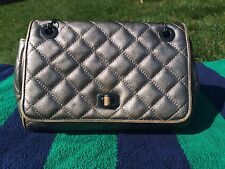 Ann Taylor Small Shoulder Bag Silver Quilted Leather Front Flap with Chain Strap