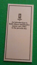 INTRODUCTION TO ROLLS ROYCE & BENTLEY CARS 1962 - 1984 BROCHURE (SHADOW SPUR T2)