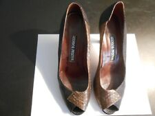 ANDREA PFISTER--MADE IN ITALY--COBRA/LIZARD OPEN TOE WOODEN HEAL PUMPS--7