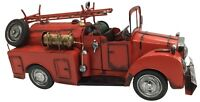 Vintage Classic Ex Large Red Fire Engine Tin Metal 40cm Length Collectible Truck
